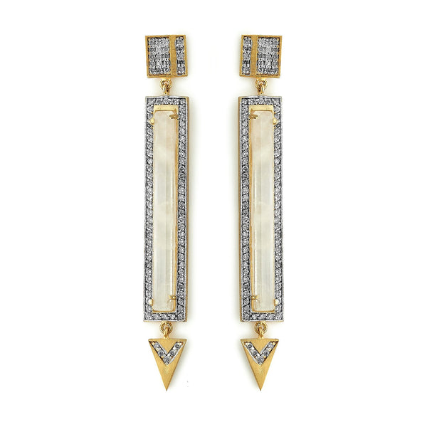 Moonstone Diamond Bar Drop Earrings