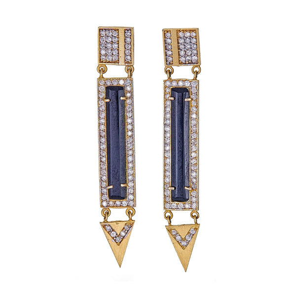 Onyx Diamond Bar Drop Earrings