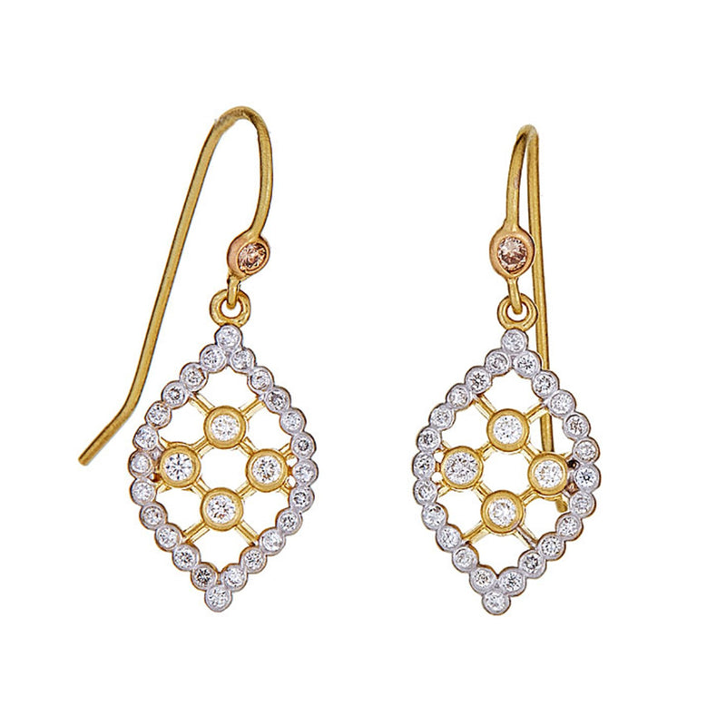 Diamond Marquise Small Grid Drop Earrings