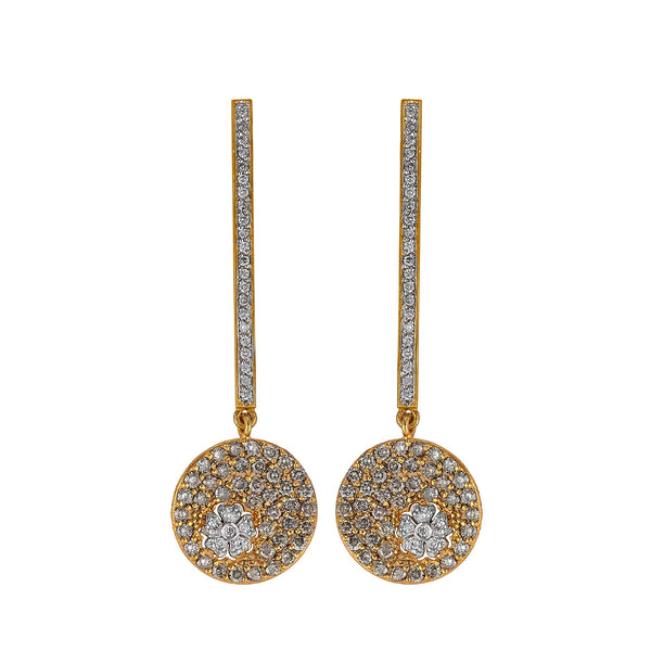 Champagne Diamond Disc Flower Earrings