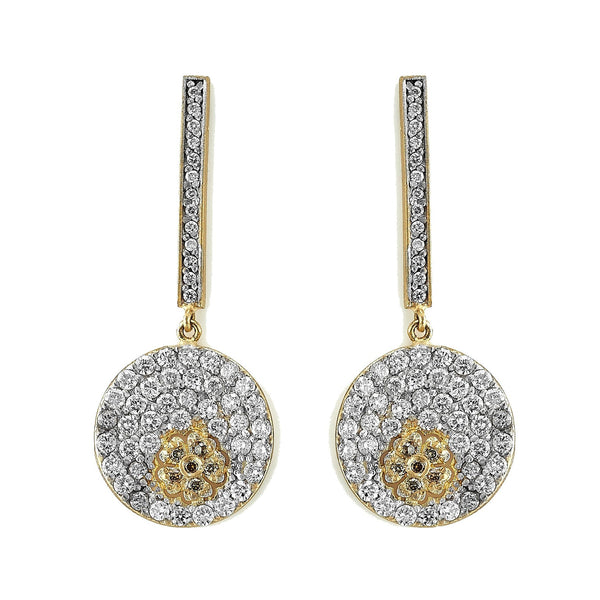 Diamond Disc Flower Earrings
