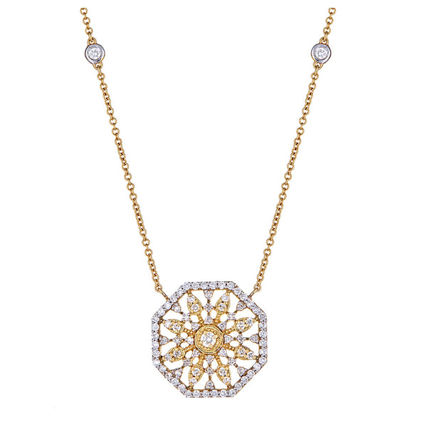 Diamond Octagon Medallion Pendant