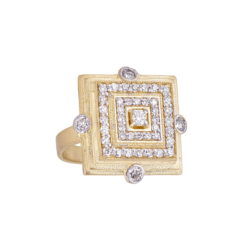 Diamond Square Deco Ring