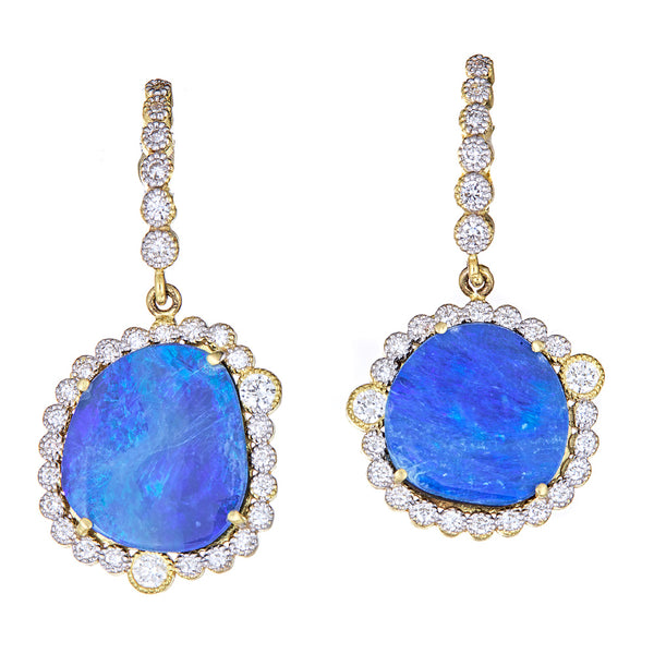 Diamond Opal Deco Earrings