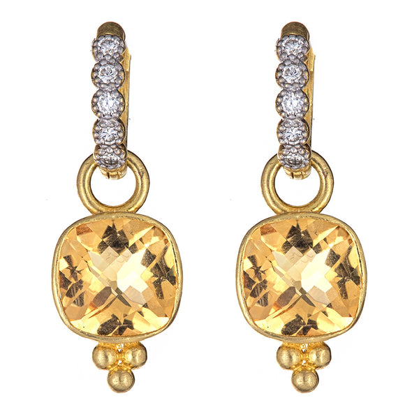 Citrine Granule Ear Charms