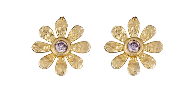 Champagne Diamond Sunflower Studs