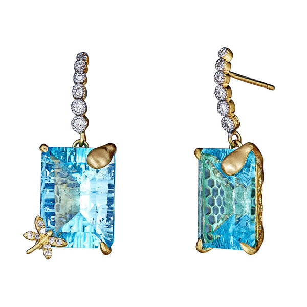 Blue Topaz Honeycomb Diamond Drop Earrings