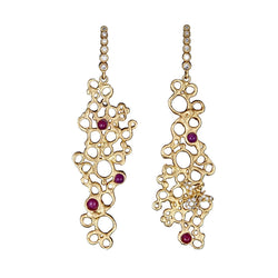 Ruby Honeycomb Diamond Earrings