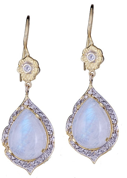 Moonstone & Diamond Marie Antoinette Pear Drop Earrings