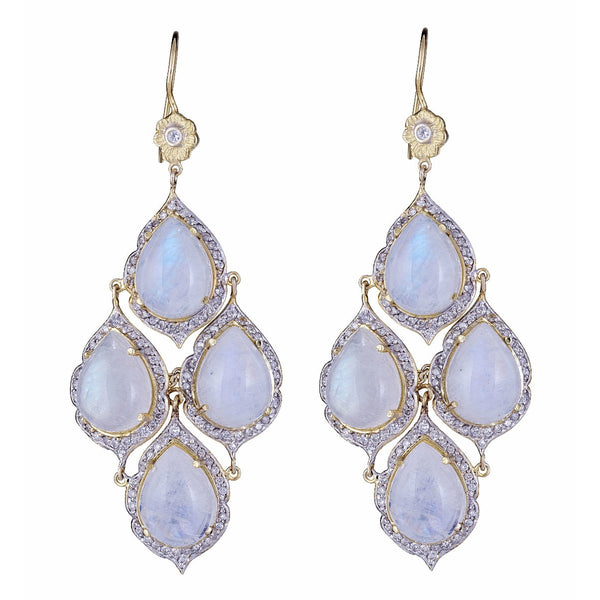 Moonstone & Diamond Marie Antoinette Pear Chandelier Earrings