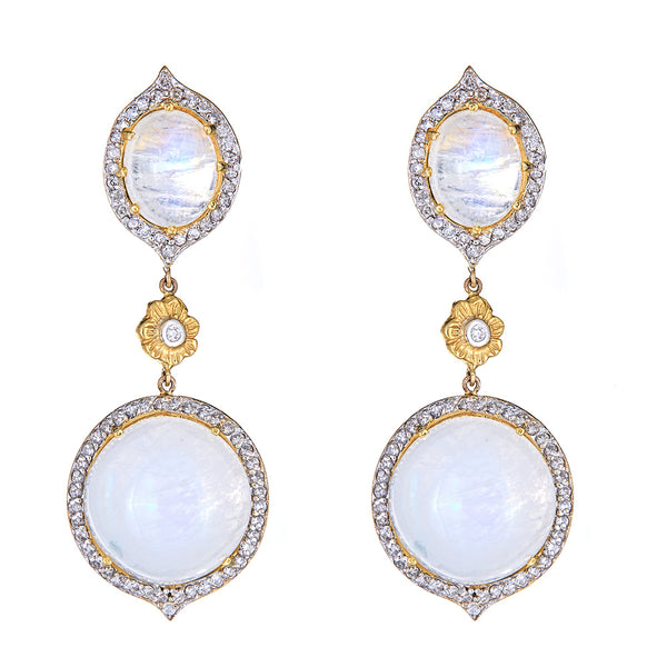 Moonstone & Diamond Marie Antoinette Double Drop Earrings