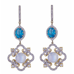 Diamond Moonstone Cloud & Apatite Chandelier Earrings