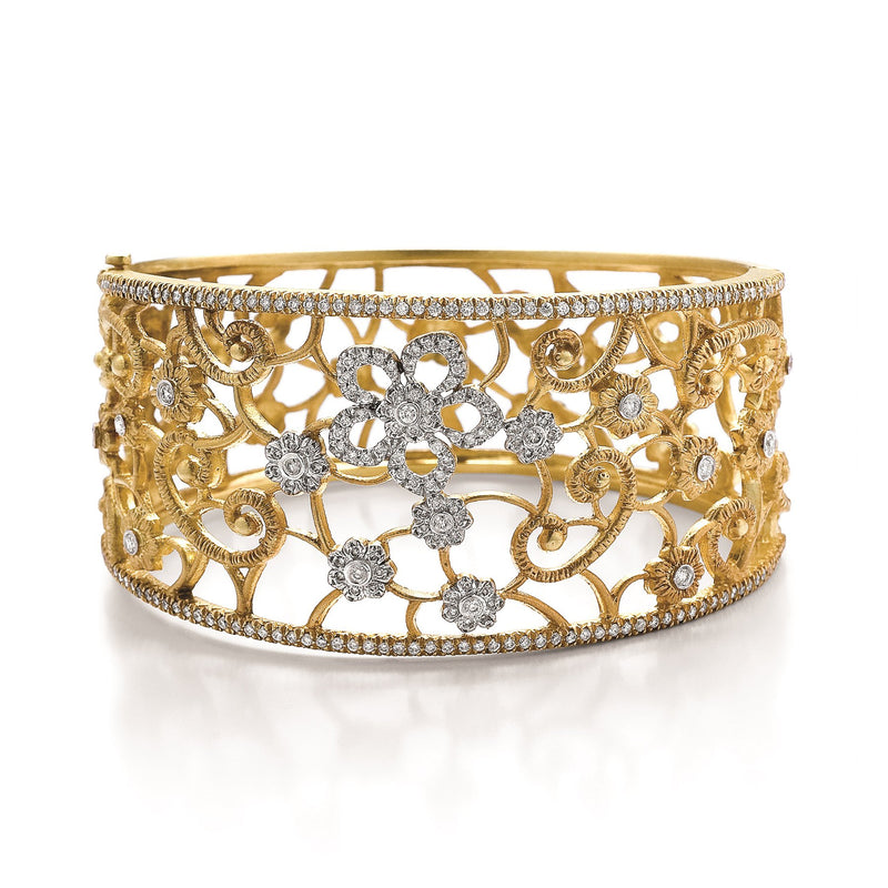 Tanya Farah Fine Jewelry | Diamond Tapestry Flower Scroll Cuff