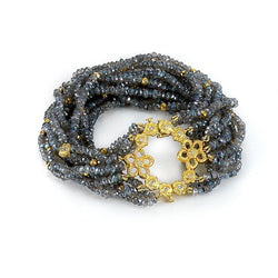 Tanya Farah Fine Jewelry | Diamond Open Flower Labradorite Beaded Bracelet