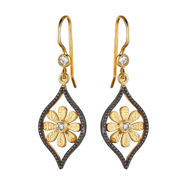 Tanya Farah Fine Jewelry | Black Diamond Marquise Sunflower Earrings