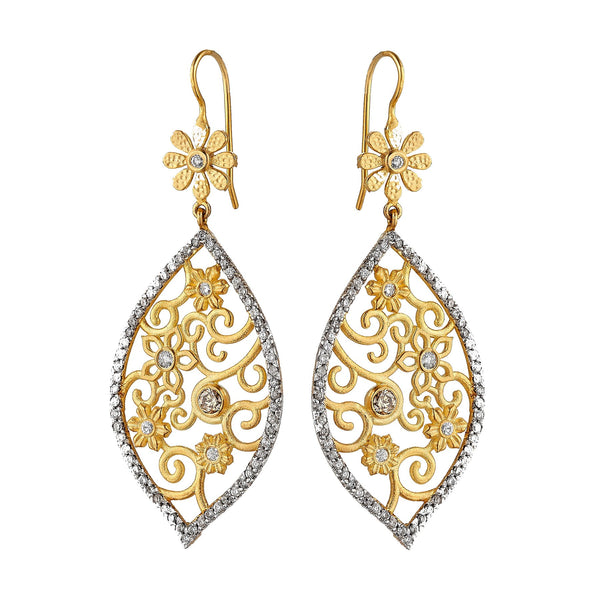 Tanya Farah Fine Jewelry | Diamond Tapestry Flower Marquise Earrings