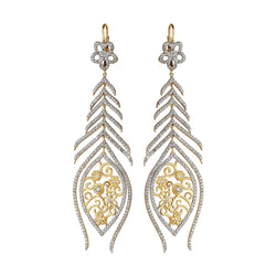 Tanya Farah Fine Jewelry | Diamond Tapestry Flower Marquise Peacock Earrings