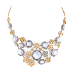 Tanya Farah Fine Jewelry | Moonstone & Diamond Tapestry Flower Bib Necklace
