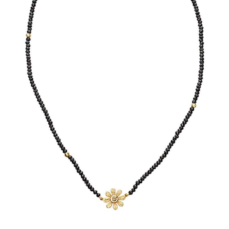 Tanya Farah Fine Jewelry | Champagne Diamond Sunflower Black Spinel Necklace