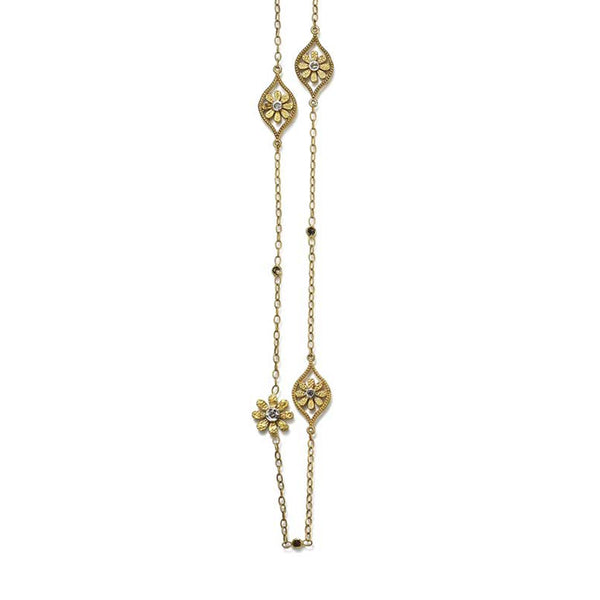 "Tanya Farah Fine Jewelry | Diamond Marquise Sunflower 32"" Station Necklace"