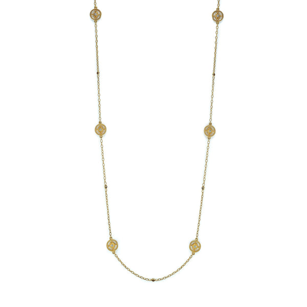 "Tanya Farah Fine Jewelry | Diamond Tapestry Flower Station 32"" Necklace"