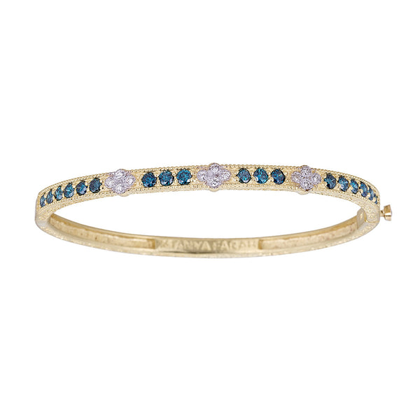 Tanya Farah Fine Jewelry | Blue Diamond Bangle with 3 Diamond Clusters