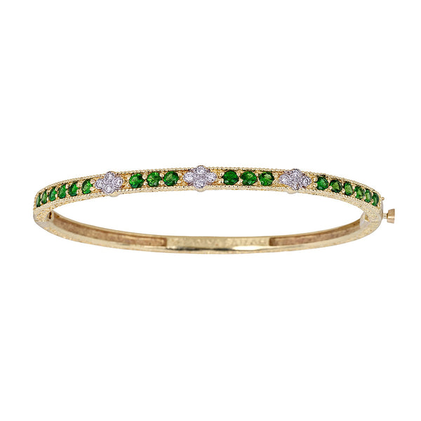 Tanya Farah Fine Jewelry | Tsavorite Bangle with 3 White Diamond Clusters