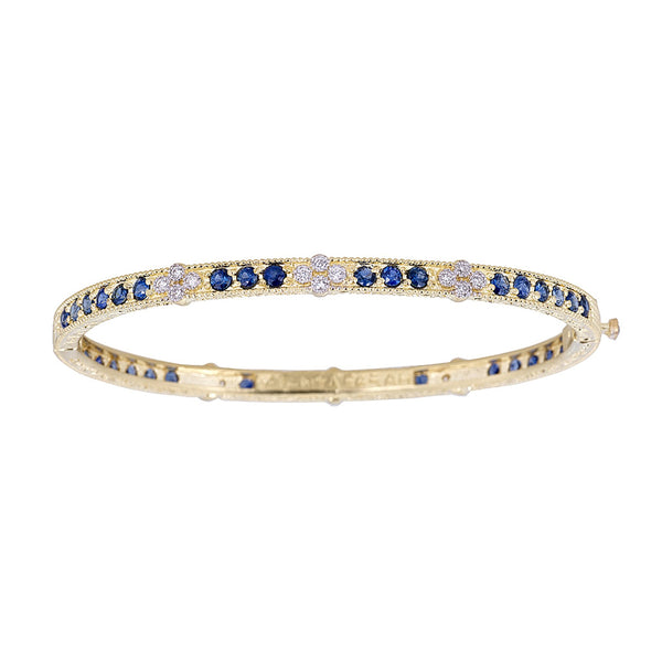 Tanya Farah Fine Jewelry | Blue Sapphire Eternity Bangle with 6 Diamond Clusters