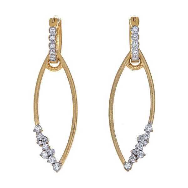 Tanya Farah Fine Jewelry | Diamond Cluster Marquise Frame Ear Charms