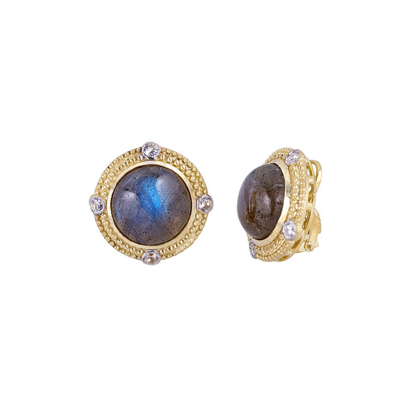 Tanya Farah Fine Jewelry | Labradorite Diamond Granule Bezel Earrings