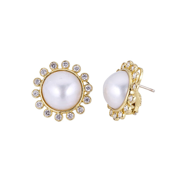 Tanya Farah Fine Jewelry | Pearl Sunburst Diamond Button Earrings