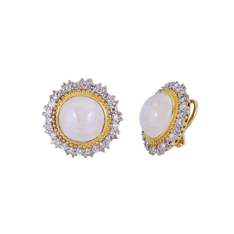 Tanya Farah Fine Jewelry | Moonstone Diamond Sunburst Earrings