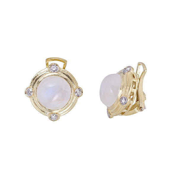 Tanya Farah Fine Jewelry | Moonstone Diamond Bezel Earrings