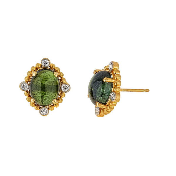 Tanya Farah Fine Jewelry | Green Tourmaline Diamond Stud Earrings