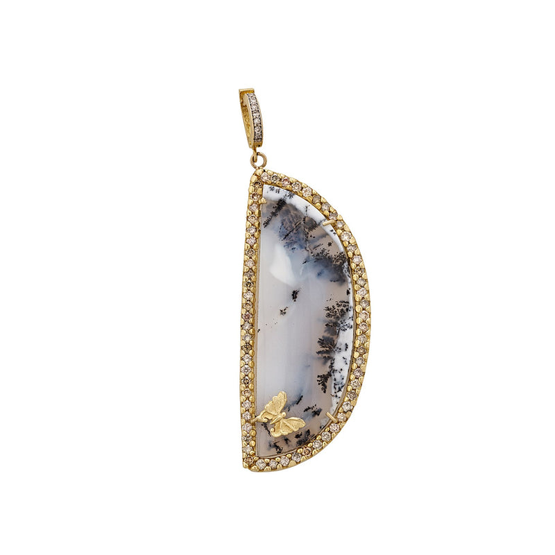 Tanya Farah Fine Jewelry | Dendrite Opal & Diamond Garden of Eden Butterfly Enhancer