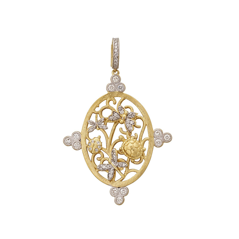 Tanya Farah Fine Jewelry | Diamond Oval Garden of Eden Scroll Enhancer