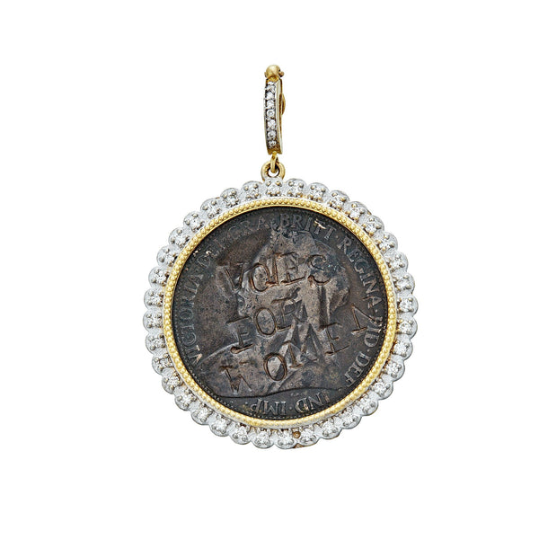 Tanya Farah Fine Jewelry | Vintage Suffragette Coin Diamond Bezel Enhancer