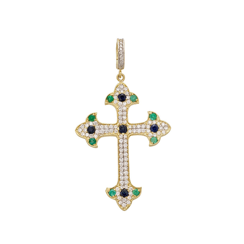 Tanya Farah Fine Jewelry | Blue  Sapphire, Emerald & Diamond Royal Cross Enhancer