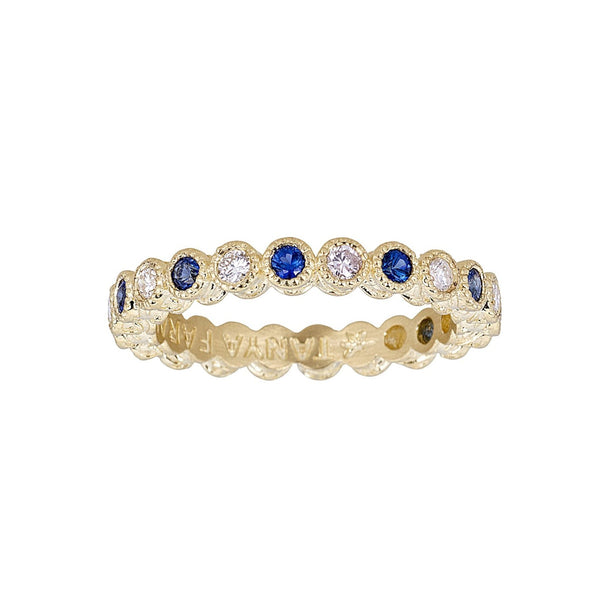 Tanya Farah Fine Jewelry | Blue Sapphire & White Diamond Bezel Stacking Ring