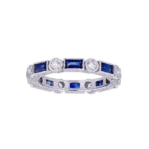 Tanya Farah Fine Jewelry | Blue Sapphire Baguette & Diamond Bezel Stacking Ring