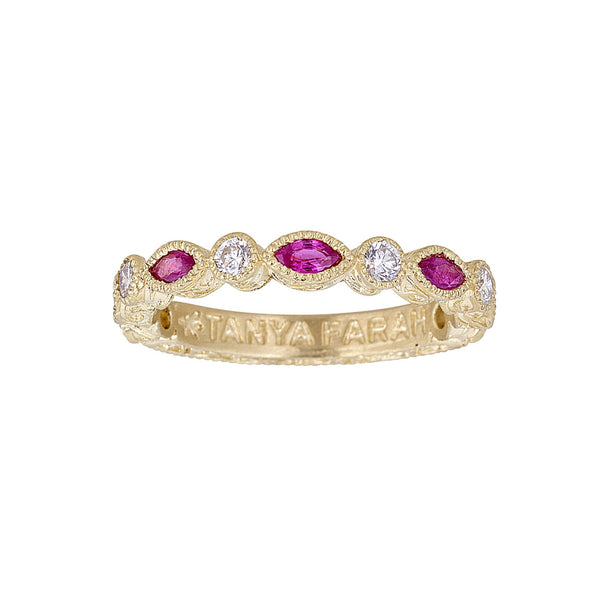 Tanya Farah Fine Jewelry | Ruby Marquise & Diamond Bezel Stacking Ring