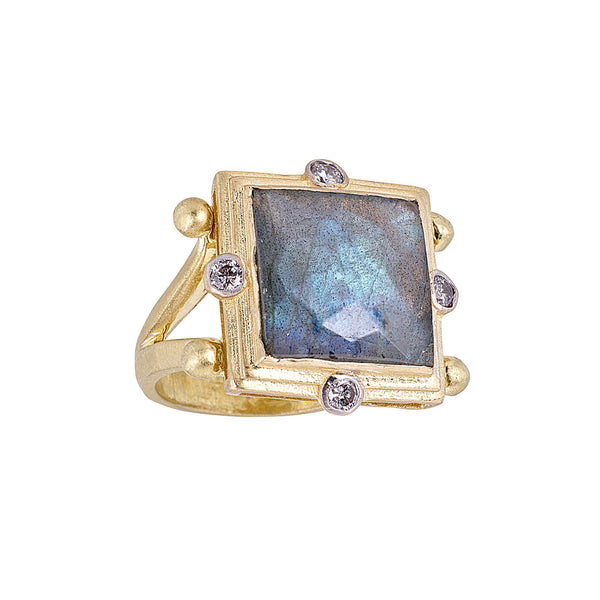 Tanya Farah Fine Jewelry | Labradorite Square Diamond Bezel Ring