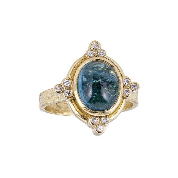 Tanya Farah Fine Jewelry | Green Tourmaline Oval Diamond Cluster Ring