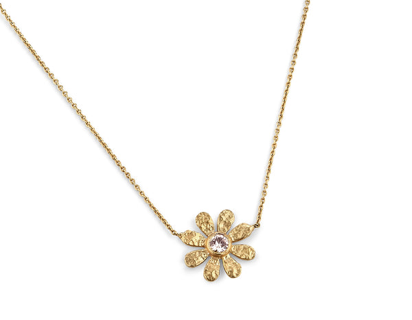 Champagne Diamond Sunflower Pendant