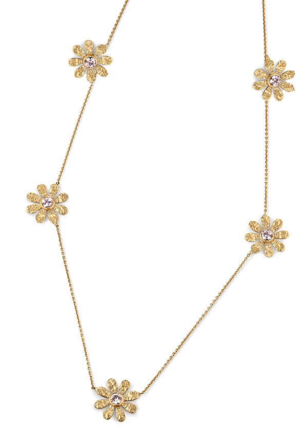 Champagne Diamond 5 Station Sunflower Necklace
