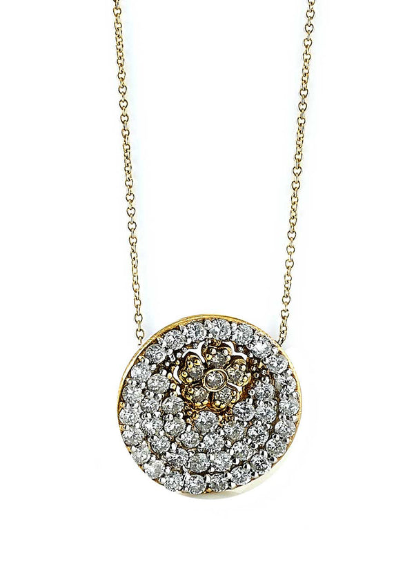Diamond Flower Disc Pendant