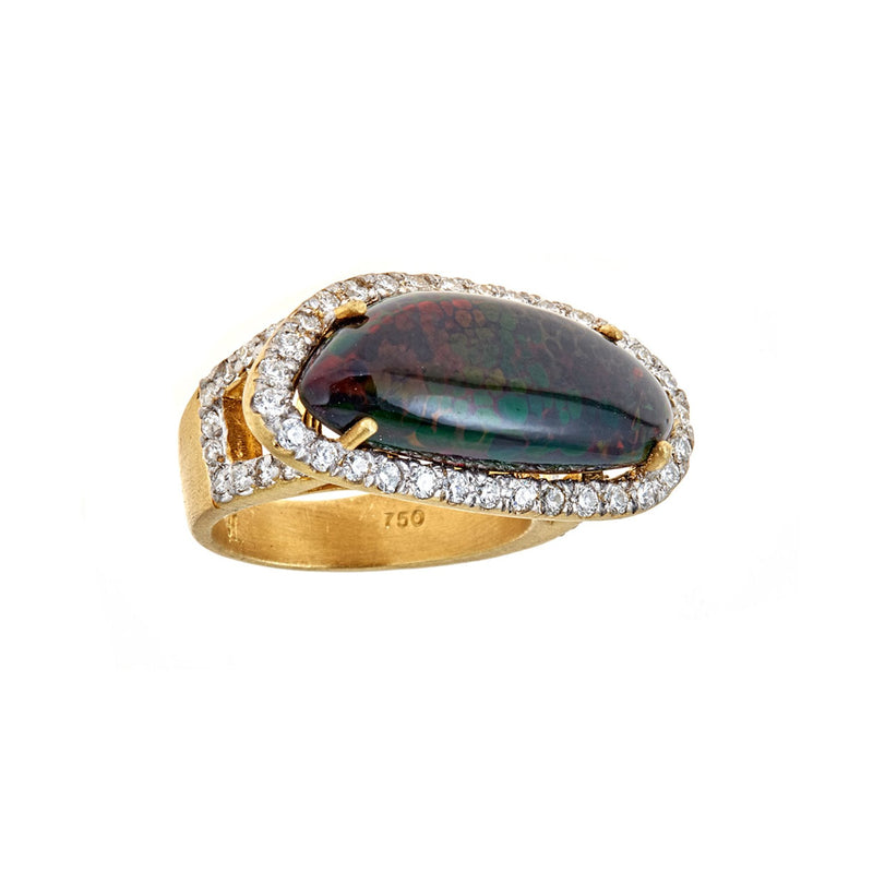 Black Opal Diamond Horizontal Ring