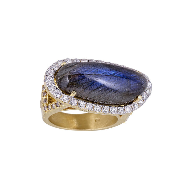 Labradorite Diamond Horizontal Ring