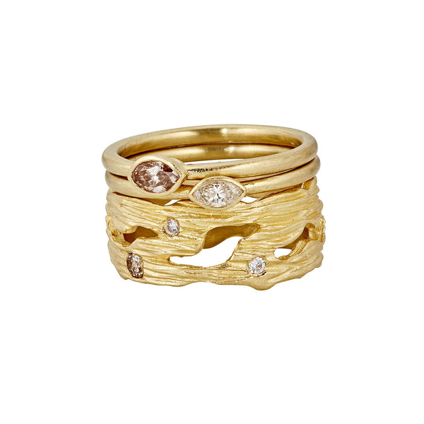 Branch Textured Diamond Ring