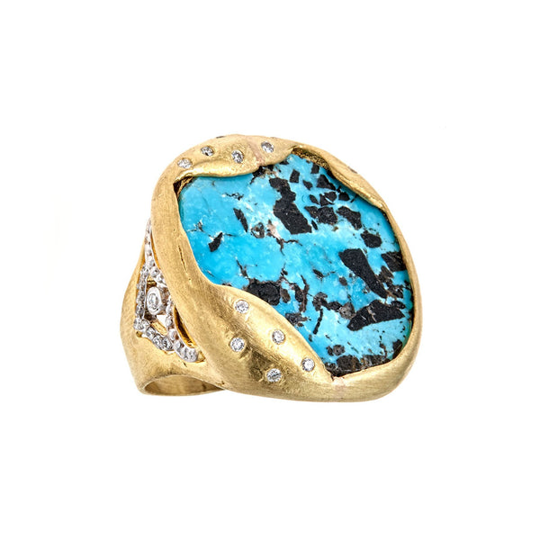Organic Turquoise Diamond Ring
